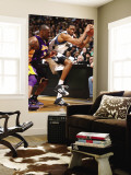 Los Angeles Lakers v Minnesota Timberwolves: Wesley Johnson and Kobe Bryant Wall Mural by David Sherman