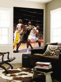 Indiana Pacers v Los Angeles Lakers: Roy Hibbert, Kobe Bryant and Ron Artest Wall Mural by Andrew Bernstein