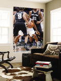 San Antonio Spurs v Minnesota Timberwolves: Wesley Johnson and Tony Parker Wall Mural by David Sherman