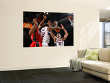 New Jersey Nets v Atlanta Hawks: Damion James, Josh Powell and Zaza Pachulia Wall Mural by Kevin Cox