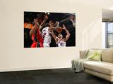 New Jersey Nets v Atlanta Hawks: Damion James, Josh Powell and Zaza Pachulia Wall Mural by Kevin Cox