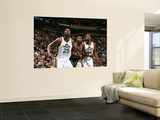 Milwaukee Bucks v Utah Jazz: Al Jefferson, C.J. Miles and Luc Mbah a Moute Wall Mural by Melissa Majchrzak