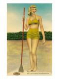 Woman in Bathing Suit Playing Shuffleboard Posters