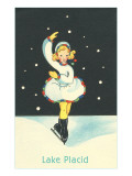Little Girl Ice Skater in Lake Placid, New York Affiches