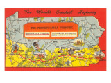 Map Showing Pennsylvania Turnpike Prints