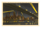 Night, Skyline under Brooklyn Bridge, New York City Prints