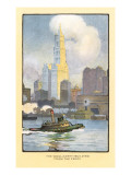 Painting of Woolworth Building from Ferry, New York City Prints