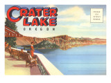 Postcard Folder, Greetings from Crater Lake, Oregon Poster