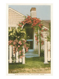 Saltbox House with Flowers, Nantucket, Massachusetts Photo