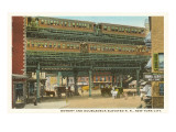 Bowery and Doubledeck Elevated Railroad, New York Posters