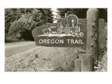 Sign Marking Oregon Trail, Near Columbia River Poster