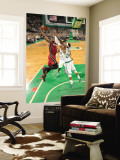 Miami Heat v Boston Celtics - Game Three, Boston, MA - MAY 7: Dwyane Wade and Paul Pierce Wall Mural by Brian Babineau