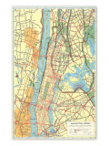 Map of Manhattan and Bronx, New York Prints