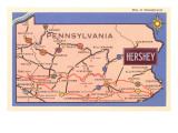 Map of Pennsylvania with Hershey Prints