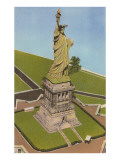 Aerial View, Statue of Liberty, New York City Art