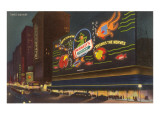 Night, Wrigley's Sign, New York City Posters