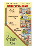 Map of Nevada, One Sound State, No Tax Print