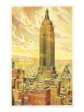 Empire State Building, Flaming Sky, New York City Prints
