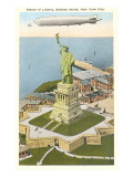 Blimp over Statue of Liberty, New York City Prints
