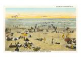 Beach Scene with Biplanes, Seaside, Oregon Posters