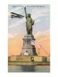 Statue of Liberty with Biplane, New York City Posters