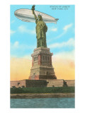 Blimp and Statue of Liberty, New York City Posters