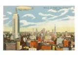 Kleinluftschiff über dem Zentrum von Manhattan Poster