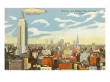 Blimp over Midtown Manhattan - Poster