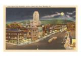 Moon over Penn Square, Reading, Pennsylvania Prints