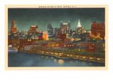 Skyline at Night, Buffalo, New York Kunstdrucke