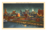 Skyline at Night, Buffalo, New York Prints