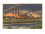 Night, Steel Mills, Niles, Ohio Prints