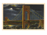 Moon over George Washington Bridge, New York City Prints