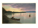 Canoing on Lake at Sunset Prints