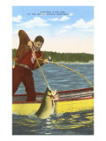 Man Spearing Fish Posters