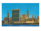 United Nations Building and Skyline,  New York City Affiches