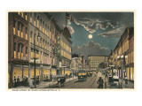 Court Street by Night, Binghamton, New York Print