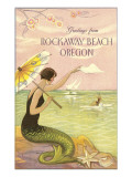 Mermaid Waving from Rockaway Beach, Oregon Poster