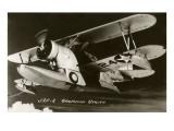 J2F-2 Grumman Utility Biplane with Pontoon Hull Affischer