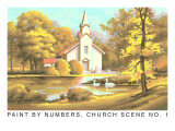 Paint by Numbers, Church Scene Number One Prints