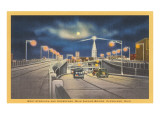 Moon over Main Avenue Bridge, Cleveland, Ohio Print