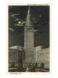 Moon over Union Terminal, Cleveland, Ohio Print