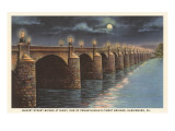 Moon over Market Street Bridge, Harrisburg, Pennsylvania Prints