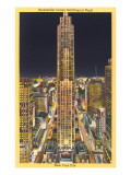 Night, Rockefeller Center, New York City Poster