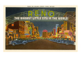 Night, Virginia Street, Reno, Nevada Prints