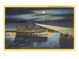 Moon over Steamer on Chautauqua Lake, New York Posters