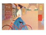 Girl with Bicycle in Front of Eiffel Tower Print