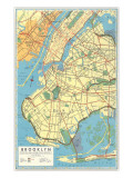 Map of Brooklyn, New York Affiches