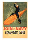Sailor Riding Torpedo, Navy Poster Print