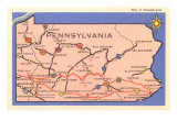 Road Map of Pennsylvania Print